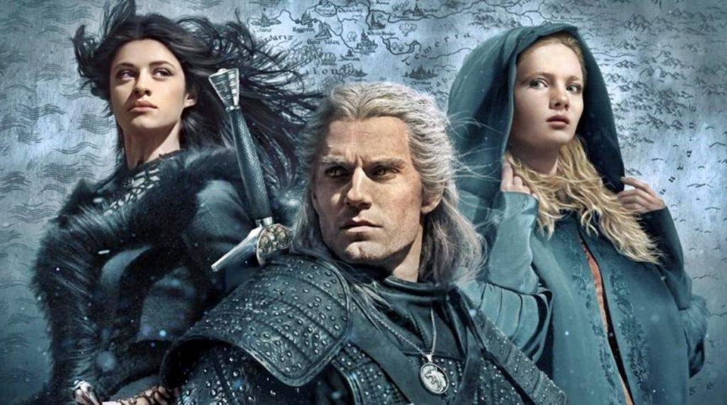 Cartel con los tres protagonistas de The Witcher: Yennefer, Geralt y Ciri.
