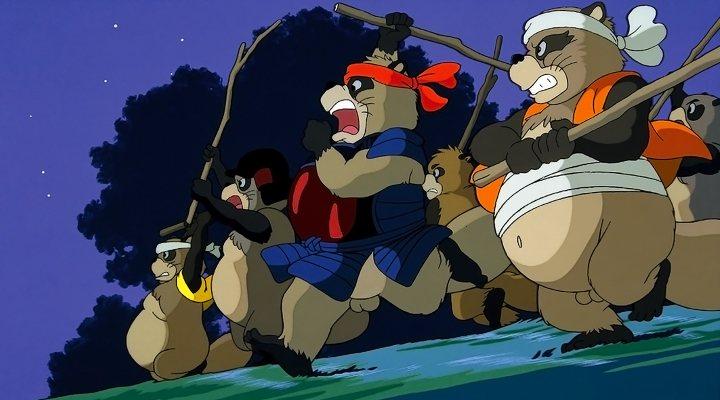 Imagen de una batalla de los mapaches japoneses protagonistas de Pompoko