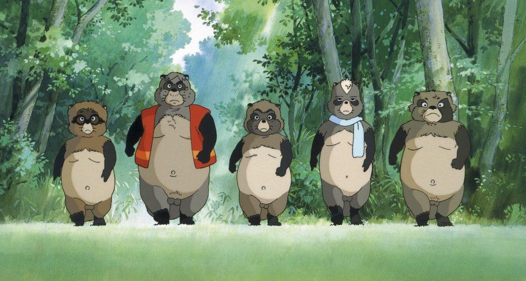 Imagen de los mapaches japoneses protagonistas de Pompoko