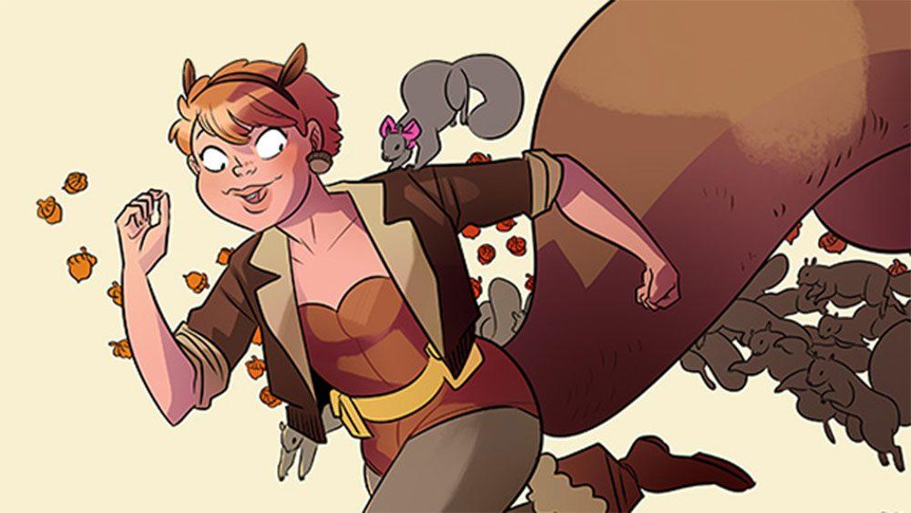 Imagen del personaje de cómic de La imbatible Chica Ardilla y sus ardillas