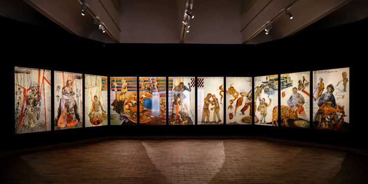 Imagen de una de las obras de Nalini Malani en la Fundació Miró