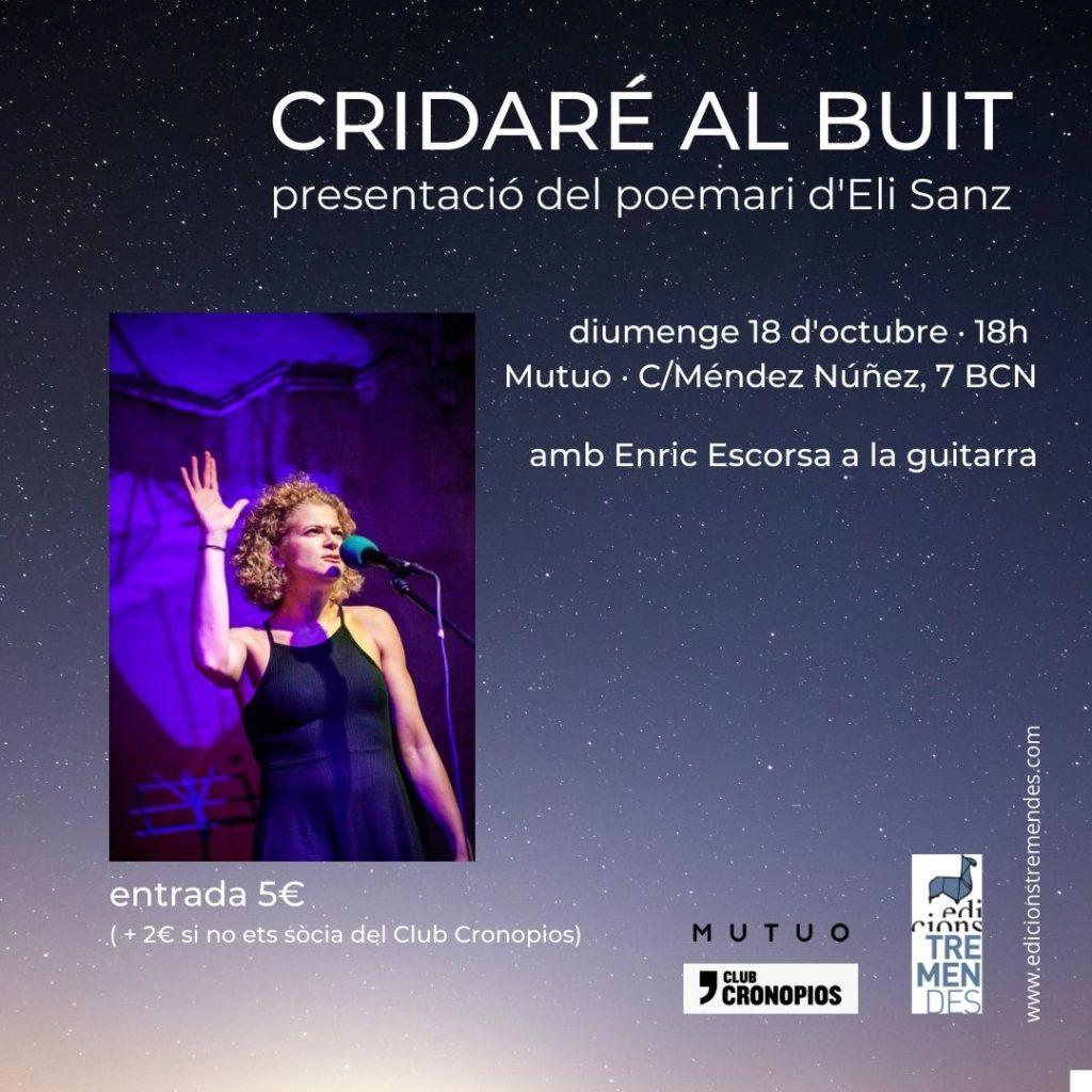 Imagen de la presentación de Cridaré al buit, de la poeta Eli Sanz