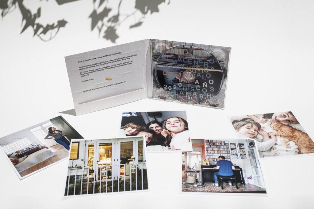 Imagen del cd y las polaroids del disco de Gonzalo Fuster, Almacenero Marx